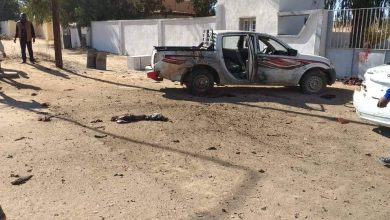 Photo of A suicide bomber blows himself up in front of Ghadwa Police Station