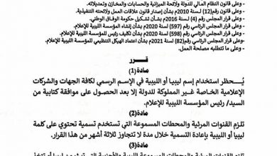 "Photo of The Libyan Media Corporation banned using ""Libya"" in private media's official name"